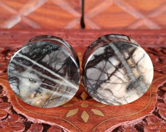 25mm (1 Inch) Picasso Marble Stone Plugs. 14mm wearable surface.