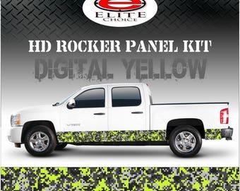 "Digital Yellow Camo Rocker Panel Graphic Decal Wrap Truck SUV - 12"" x 24FT"