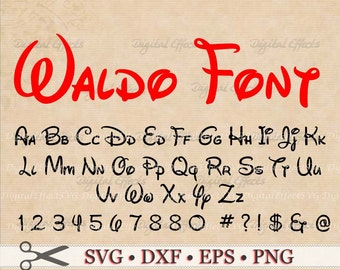 WALDO SVG Font, Svg Dxf, Eps, Png, Handwriting Font Monogram 68 Files Include 52 Alphabet, 10 Numbers, 6 Symbols; Silhouette Files, Cricut