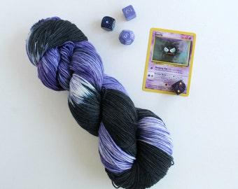 Lastly Ghastly: 100g hand dyed superwash merino sock yarn with a Pokemon theme