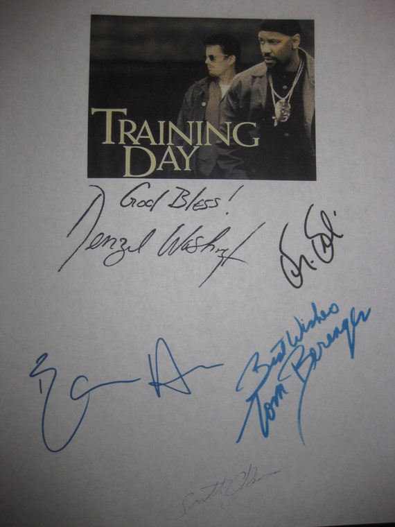 Training Day Signed Film movie Screenplay Script X5 Autograph Denzel Washington Ethan Hawke Dr. Dre Scott Glenn Tom Berenger signature