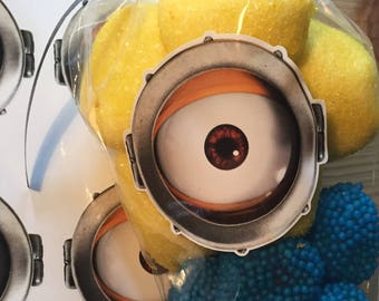 10 x Minion Eye stickers labels ideal for party bags and sweet cones