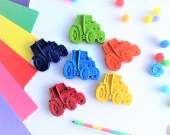6 Tractor Crayons, Crayons, Novelty Crayons, Tractor, Farm Party, Vehicles, kids gifts, Boys gifts, party bag favours and fillers, Stocking