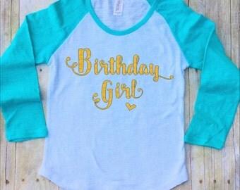 Birthday Girl Shirt-Birthday Girls Shirt-Girls Pink Birthday Shirt-Raglan Sleeve-Girls Fourth Birthday Shirt-Pink Raglan-Gold Glitter