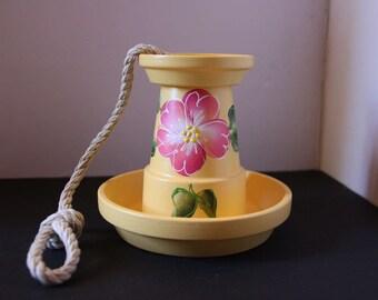Bird feeder, flower pot bird feeder, clay pot bird feeder, patio decoration