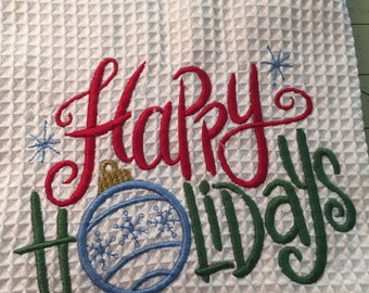Happy Holidays Machine Embroidered Waffle Weave Kitchen Towel-Hostess Gift-Holiday Towel-Kitchen Towel, Machine Embroidered Towel