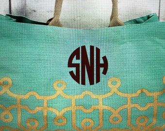 Monogram Jute Tote-Monogram Beachbag-Boat Tote-Personal Juco/Jute Tote-Personal Beach Bag-Gift for Her-Beachbag-Beachbags-Bachelorette Party