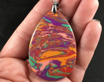 Colorful Psychedelic Synthetic Stone Pendant Necklace