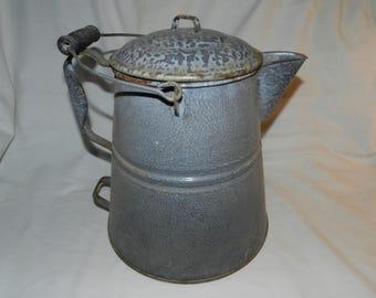 Campfire Cowboy Coffee Pot - Extra Large Gray Graniteware coffee pot - Texas sized Enamel Camping hot water boiler pot - Farm Kitchen   D3-8