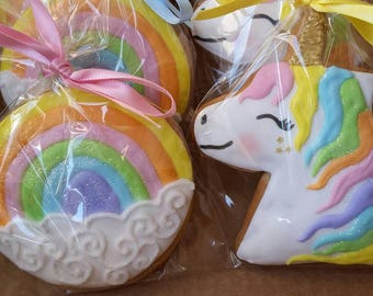 Unicorn cookie, Rainbow cookie, party bag fillers, party favours, wedding favours, birthday party favours, biscuits