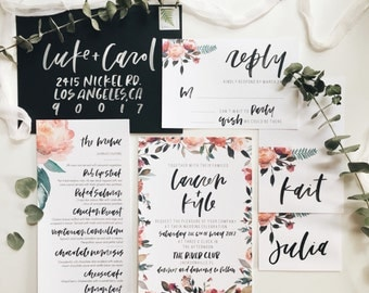 Watercolor Floral + Calligraphy Wedding Invitation Invitation