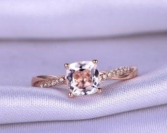 7mm Cushion Cut Natural Morganite Engagement ring,Light Pink Gem Stone,1.4ct morganite,With Twist Diamond Matiching Band,Anniversary ring