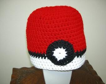 Adult Warm Pokeman Ball Hat Beanie Cap, Red, White, Black