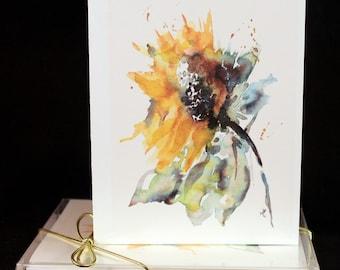 Loose yellow Sunflower Original Watercolor PRINT Note Card Set, Watercolor Cards, Watercolor Sunflowers, Sunflower Cards