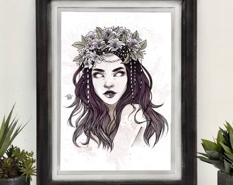 Crown for the Wicked • Hand Embellished A4 print • Original art • Watercolour • Witch • Flowers