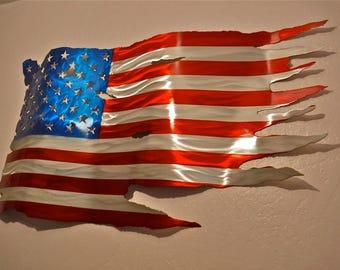 Metal American Flag Tattered 24 X46 Hand Made Aluminum