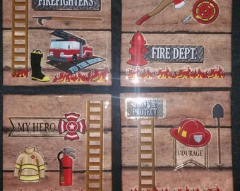 Fireman Coasters,  gift for dad, firefighter coasters,  Man cave coasters