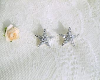 Crystal earrings , small zircon earrings, Bridal jewellery,  80's stud Earrings, stud star earrings, crystal star earrings