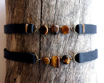 Tiger Eye Black Leather Choker - Leather Gemstone Choker - Tiger Eye Collar Necklace -90s Grunge Jewelry -90s Grunge Choker - Fall Jewelry