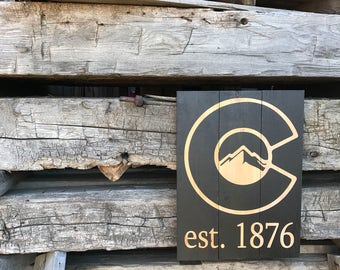 Colorado Pride. Wood Sign. Distressed Wood. Closing gift. Carved. Hand Painted. Anniversary. Housewarming Gift. Colorado Flag. Colorado