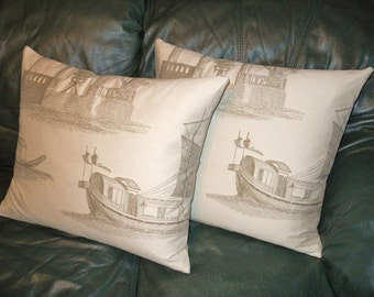 Beacon Hill Throw pillows woven boat building NEUTRAL tones Custom new PAIR