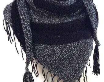 Boho Scarf, Knit Boho Scarf, Triangle Scarf, Black and Grey Boho Scarf, Triangle Knit Scarf, Womens Fashion, Gift for Her, Spring Scarf
