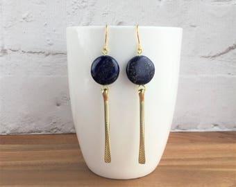 Lapis lazuli earrings, lapis lazuli, gemstone earrings, blue earrings, lapis drop earrings, dark blue earrings, blue stone earrings