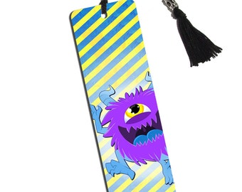Cute Purple Fuzzy Monster Printed Bookmark With Tassel