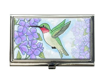 Hummingbird With Hydrangeas Business Credit Card Holder Case