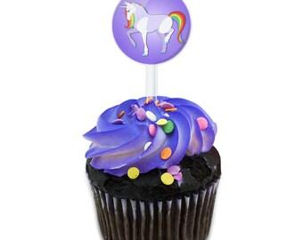 Unicorn Cake Cupcake Toppers Picks Set