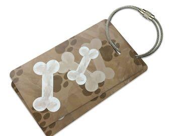 Dog Bones And Paws Suitcase Bag Id Luggage Tag Set