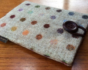 """Kindle paperwhite, kindle voyage, 6"""" fire HD, Kobo, Nook glowlight plus cover case, British pure wool fabric, spots"""