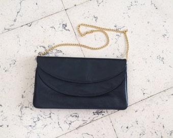SALT!!! Vintage Leather handbag dark blue/dark blue evening bag/gift for you/Vintage handbag with double pocket/handbag