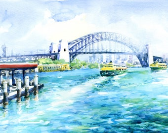 "Sydney Watercolour Painting - Print, ""Two Ferries"", Sydney, Australia, Harbour Bridge, Holiday Gift Women, Beach Decor, Print, Watercolor"