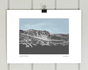 Lochnagar A4 print | Royal Deeside | Illustration