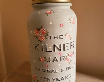 Hand Painted Kilner Mason Jar With Vintage Roses, Dot Daisies and Polka Dots