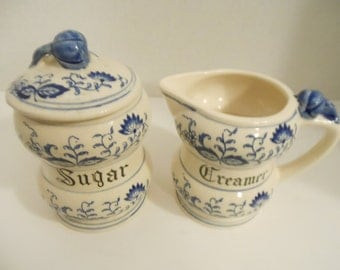 "Vintage Arnart ""Blue Onion"" China/ 3 Piece Creamer & Sugar Set"
