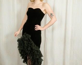 1960s Black Velvet Burlesque Dress - XS