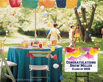 Personalized Waterproof Outdoor Graduation Party Yard Sign with Ground Stake