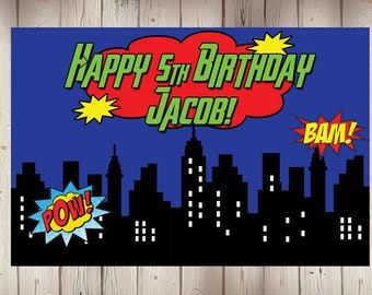 "24""x36"" Personalized Superhero Cityscapes Birthday Party Banner"