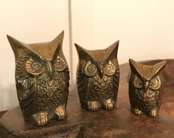 Vintage Trio of Miniature Brass Owl Figurines
