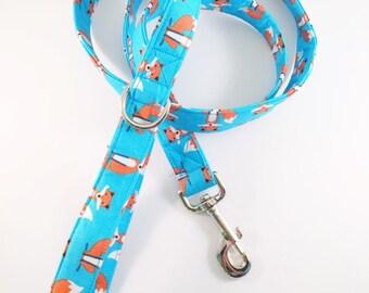 Fox Leash Leash, Dog Leash, 5 foot Leash, Blue Leash, Fox Print Leash