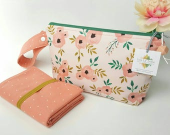 Diaper clutch, diaper changing pad, small diaper bag, travel changing pad, diapers and wipes case, nappy wallet, pink watercolor floral