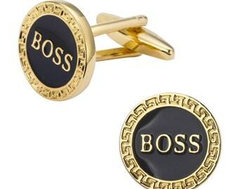 BOSS CUFFLINKS Gold Tone   + Gift Box