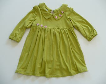 GORGEOUS GIRLS DRESS, special occasion, party dress, birthday, holiday, long sleeve, green, girl, baby, toddler, handmade