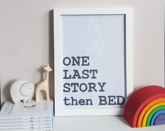 Bedtime Story Print, Literary Art, Playroom Decor, Nursery Wall Print, Book Quote, Children's Storytime, Reading Corner Art,