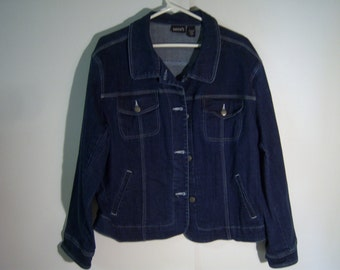 Ladies Chico's Jacket, Denim Jacket, Size 3, No Lining, Metal Buttons Up Front, Four Front Pockets, Great Condition, Pre Owned, Used