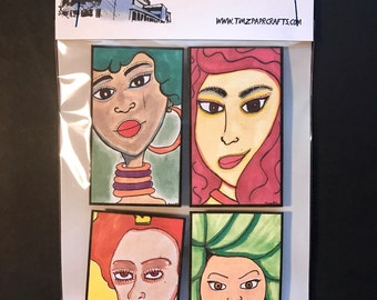 Originally illustrated faces magnets