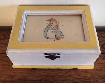 Beatrix Potter Woodburned & Painted Box