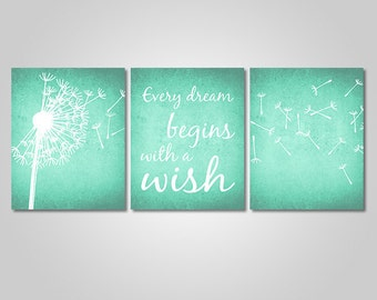 INSTANT DOWNLOAD - Dandelion Wall Art Decor - Dandelion Quote Rustic Wall Art Printable - Every Dream Begins With A Wish - Mint Green